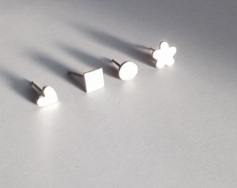 Mismatched earrings, set of 4. Sterling & fine silver small, tiny stud earrings. mix and match. handmade silver studs.