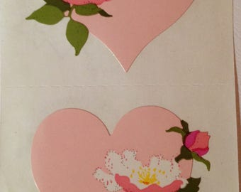 Hearts stickers, pastel pink hears with flowers