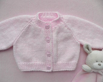 Newborn baby cardigan, baby girl coming home outfit, pink baby sweater, handknitted sweater, 0 - 3 months, girl's jumper, handmade cardigan