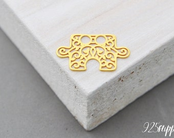 925 Sterling Silver puzzle gold plated, puzzle pendant, puzzle piece charms, puzzlesilver, rosette, rosette silver, rosette pendant, rosette