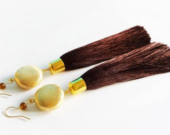 Long Brown Chocolate Tassel Shoulder Gold Earrings Duster Statement Bohemian Jewelry