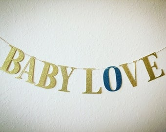 Baby Love Banner. Baby Shower Banner. Baby Shower Decor. Glitter Banner. Gender Reveal Party