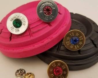 Shotgun Shell Pin,  Tie Tack Pin, 12 Gauge Shotgun Shell Pin, Shotgun Tie Tack Pin