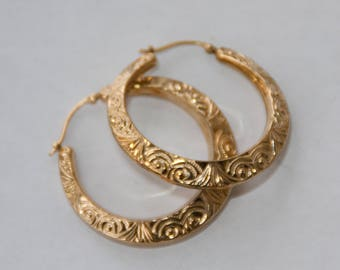 "Vintage 14K Gold Filled Hollow Hoop Earrings, Marked Carla Earrings, 14K Gold Posts, 1.5"" Textured Swirl Pattern Puffy Hoops, Free Shipping"