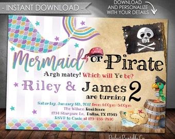 Mermaid Pirate Birthday Invitation, Mermaid Pirate Party Invitation, Mermaid Pirate Invite, Sibling, Twins, Instant Download, Editable #576