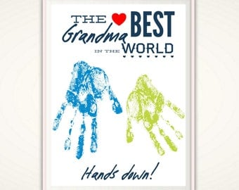 Grandma Gift - Mothers Day Gift for Grandma, Grandma Birthday Gift from GrandKids, Present, PRINTABLE Personalized Handprint Art, DIY Print