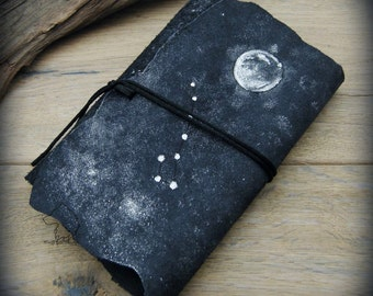CUSTOM Star book A6 leather journal, softcover hand bound and hand painted, personalized constellation custom diary, moon book of shadows