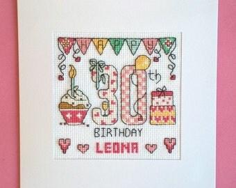 Happy 30th Birthday cross stitch card kit
