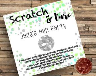 Hen Party Dares, Bachelorette Party Dares, Scratch Dare Cards, Hen Party Games, Hen Party Favours, Hen Party Decor, Hen Party Fun, Wedding