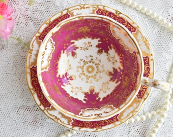 english tea cup floral tea cup set Davenport England tea cups duo english porcelain vintage teacup set