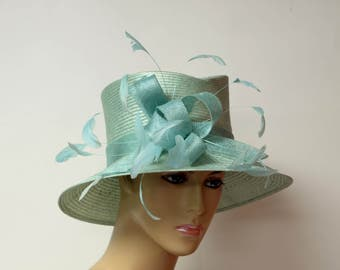 Blue Sisal Hat, Kentucky Derby Hat, Wedding Hat, English Royal Hat, Formal Hat, Dressy Hat, Church Hat