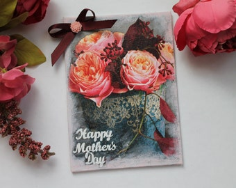 Mixed media canvas, mothers day, mixed media, decoupage canvas, gifts for her, for mum, small canvas, flowers, home decor, burgundy, gifts