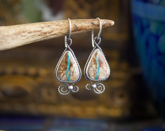 Royston Ribbon Turquoise Silver Bohemian South Western Inspired Earrings