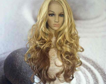 Blond and brown mix lace front wig. Human hair blend 26''