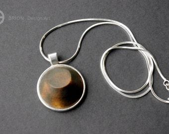 Chain, bias cut, porcelain, Brown matt, 45 cm Silver 925 / antique silver