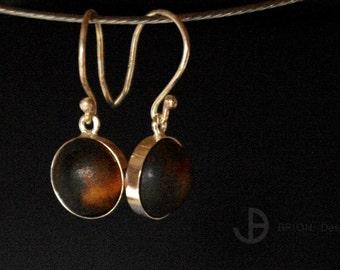 Ear hooks, porcelain, Brown matt, 925 Silver, D 11 mm