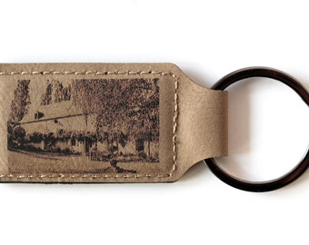 Keychain with your photo laser engraved on piece of leather,you can choose between two colors