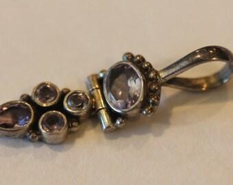 Sterling silver amethyst gemstone hinged pendant