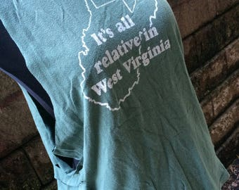 Medium/Large WV slashed cut off tshirt