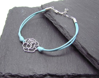 Rose centrepiece bracelet on leather cord, Sterling Silver