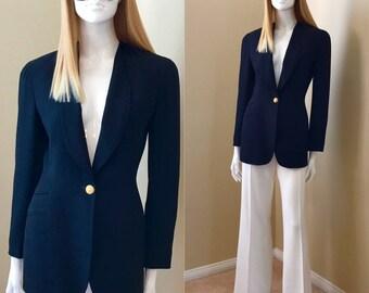 90's Black Blazer Donna Karan Wool Crepe Blazer Classic Elegant Jacket with Gold Hardware- size 4