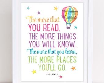 Dr Seuss Print, The More That You Read, Dr Seuss Nursery Art, Dr Seuss Quote, Kids Room Art, Classroom Poster, Colorful Art INSTANT DOWNLOAD