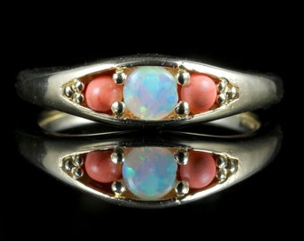 Coral Opal Gold Trilogy Ring