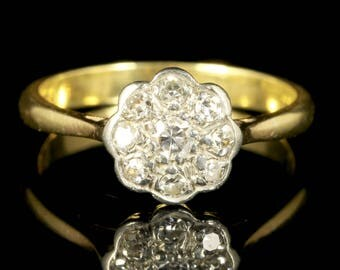 Antique Edwardian Diamond Cluster Ring 18ct Gold