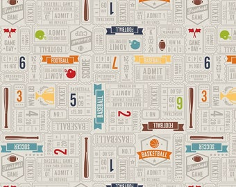 Gray Sports Ticket Quit Fabric - Game Day- Riley Blake Designs - Lori Whitlock