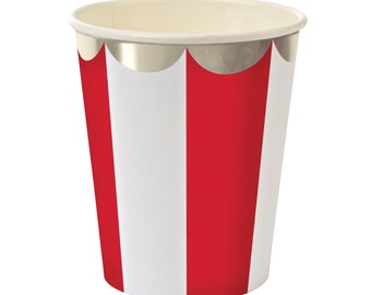 Cups | Red & White Stripe Party Cups 9 oz | Meri Meri Toot Sweet | 8 Paper Cups | Silver Scallop | Party Supplies | The Party Darling