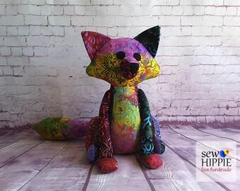 Heirloom Gift, Christening, Handmade Patchwork Batik Fox, Unique Gift, Handmade Gift, New Baby Gift
