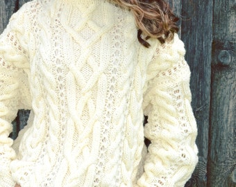 Knitted sweater Women's sweater Oversized sweater Cable