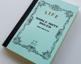 Large B6 Refill LIFE Japan Noble Series Ruled Lined Journal Notebook Archival Quality Paper Acid Free Handmade - Blue Book
