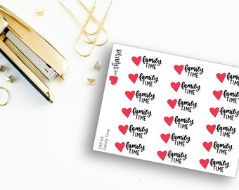 Family Time | Quality Time, Family Outing, Family Gathering, Family Reunion, Hanging Out, House - Hand Drawn Hand Lettered Planner Stickers