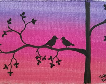 Love Birds original watercolors painting on acid free paper 4x6 inches