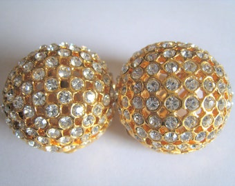 Rhinestone Gold Tone Clip  Earrings  (303 )