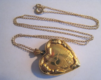 Gold Filled Heart Locket & Gold Filled Chain