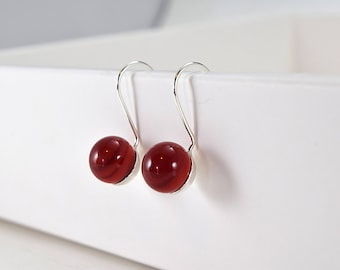 Red stick earrings / / MURANOS / / silver / / handcrafted