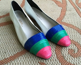 Vintage colored pointed toe flats Womans 8.5