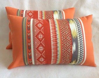 Pair of Aztec Indoor/ Outdoor Lumbar Pillow Covers - Orange/ Red/ Gray Richloom Fabric - 11x16 Covers