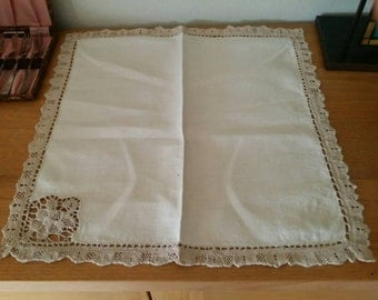 Pure Linen Table Napkins - with Linen crochet boarder - 8 placement