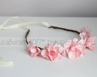 Boho Flower Halo Bridal Bridesmaid Flower Girl Flower Halo Floral Crown Fairy Festival Maternity Session Photography Prop Flowers Tieback