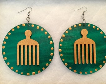 Large 3in Hand Painted Green and Gold Afro Pick Earrings