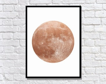 Copper full moon matte poster typography print art home