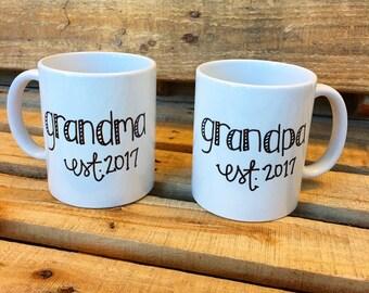 New Grandma and Grandpa Est. 2015 Coffee Mug Set...Grandma Mug...Grandpa Mug...Announcement Mugs...New  Baby...Gifts...Custom Coffee Mugs