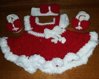 Christmas dress, Infant Christmas dress, Baby girl dress, crochet dress, Baby Dresses, Baby girl dresses, girl dresses