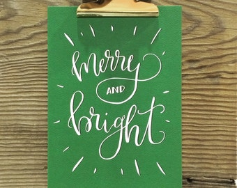Merry & Bright, Christmas Art Print, Hand Lettered Holiday, Let It Snow, Silent Night, Baby It's Cold, Holiday Quotes, Watercolor, Art Gift