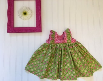 Green spring baby dress, floral baby dress, baby girl dress, pink easter baby dress, handmade baby dress, pink and green cotton baby dress