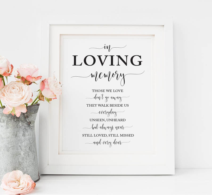 In loving memory sign wedding memorial candle sign in memory for In loving memory wedding sign