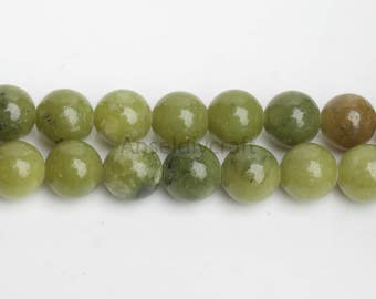 B479 Natural Chinese Xinyi Jade Beads Supplies, Full Strand 4 6 8 10 12 mm Round Chinese Jade Beads for DIY Jewelry Making